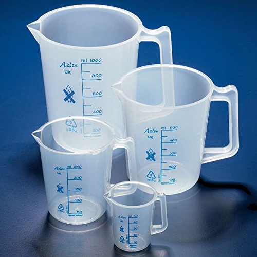 Globe Scientific Pitcher with handle, PP, 250mL, blue printed grads, tapered - GLO