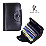 Women's Genuine Leather RFID Blocking Wallet Black Multi Card Organizer Small Purse Mini Business Card Case-6 Colors (Black)