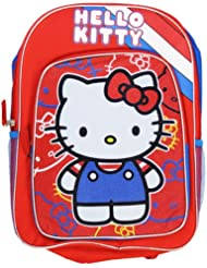 Full Red and Blue Hello Kitty Backpack with Hoodie - Large Hello Kitty Bookbag