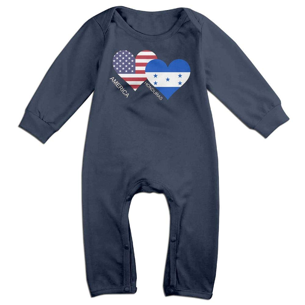 Mri-le1 Baby Girl Bodysuits America Honduras Flag Heart Baby Clothes