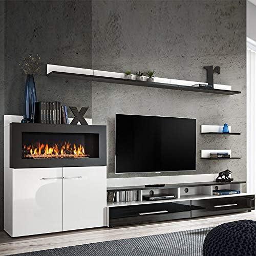 Mueble de TV con almacenamiento y chimenea, color negro lacado Martano: Amazon.es: Hogar