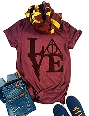 Harry Potter T Shirts Women's Love Letter Graphic Tees Casual O-Neck Funny Tops