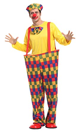 spooktacular oversized silly clown costume with suspender hat clown nose s - Amazon Halloween Costumes Men