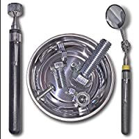 Stainless Telescoping Magnetic Pick-up Tool and Telescoping 1 1/4-inch Round Glass Pocket Inspection Mirror with Swivel Head includes 4 1/4-inch Stainless Magnetic Parts Tray, 3 piece Utility Tool Set