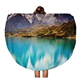 Semtomn 60 Inches Round Beach Towel Blanket Patagonia Chile Torres Del Paine in The Southern Patagonian Travel Circle Circular Towels Mat Tapestry Beach Throw