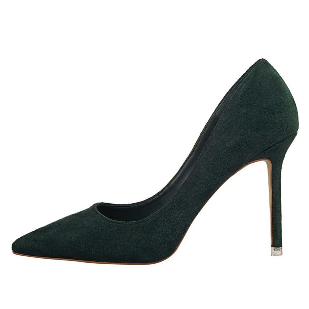 OALEEN Escarpins Femme Bout Pointu El/égant Effet Daim OL Chaussures Talon Haut Aiguille Soir/ée