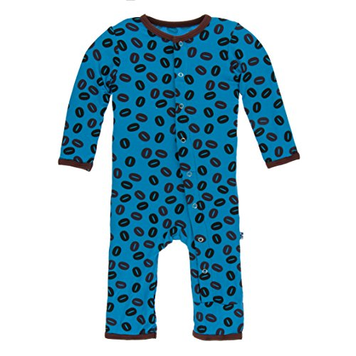 Kickee Pants Little Boys Print Coverall with Snaps - Amazon Coffee Beans, 9-12 Months - Kickee Pants Coveralls