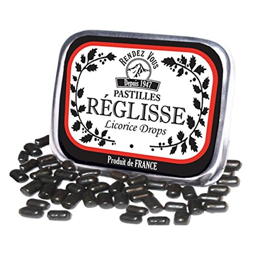 Julia European Dinner - Licorice Drops Candy Pastilles from France Candies in Retro Tin (Pack of 3)