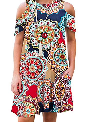HBEYYTO Women's Summer Casual Short Sleeve Floral Printed Swing Dress Plus Size Sundress with Pockets (5X Plus, X Navy)