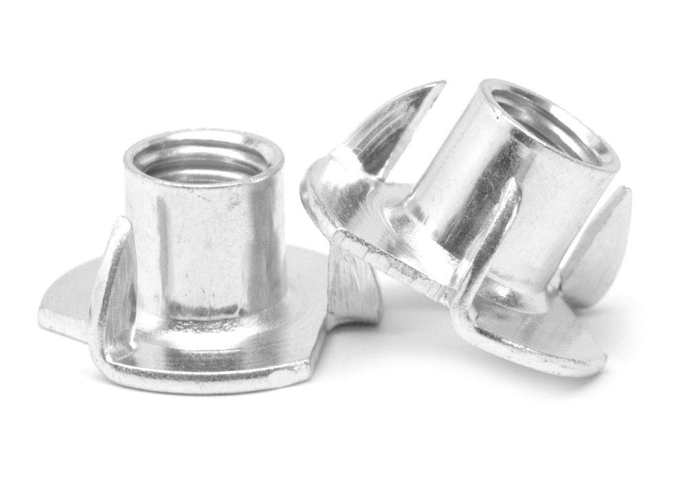 1/4''-20 x 1/4'' Coarse Thread Tee Nut 3 Prong Low Carbon Steel Zinc Plated Pk 2000