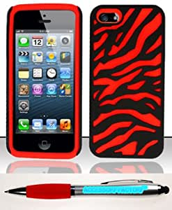 Accessory Factory(TM) Bundle (the item, 2in1 Stylus Point Pen) For iPhone 5 (AT&T Verizon Sprint Cricket) PC + SC Design Case Cover Protector - Black Red Zebra PCSC