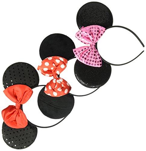 Disney Little Girls Minnie Mouse Headband and Satin Bow 3 Piece Set, Multi, Age (Polka Dots Satin Headband)