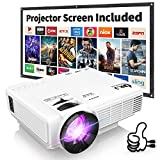 Electronics : DR. J Professional HI-04 1080P Supported Portable Movie Projector, 3600L Mini Projector with 100Inch Projector Screen, Compatible with TV Stick, Video Games, HDMI,USB,TF,VGA,AUX,AV (Latest Upgrade)