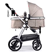 Cynebaby/Belecoo Baby Stroller for Newborn and Toddler - Convertible Bassinet to Stroller Baby Carriage (Linen Khaki)