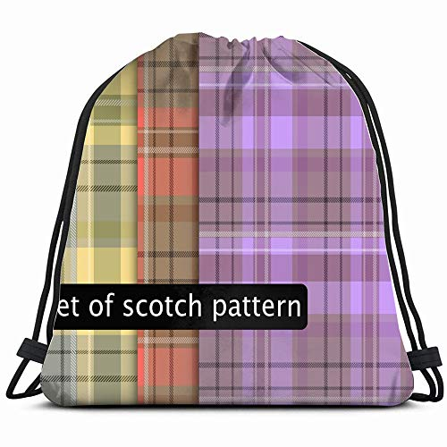 Set Scotch Texture Decorative Plaid Illustrations Clip Art Drawstring Backpack Gym Sack Lightweight Bag Water Resistant Gym Backpack For Women&Men For Sports,Travelling,Hiking,Camping,Shopping Yoga