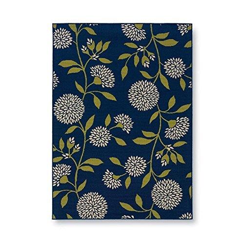 Amazon Com Plow Hearth 38880 Bl Floral Surry Indoor Outdoor Rug