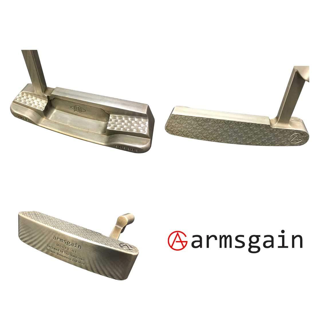アームスゲイン(armsgain) パター Model-01【クランクネックタイプ】 ハイグレードソフトステンレスSUS303 オイルカンマンガンブロンズ コーティング仕様 33インチ パター