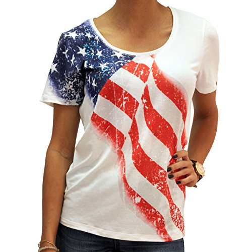 - Artisans Scoop Neck White American Flag T-Shirt With Sequins (XL)
