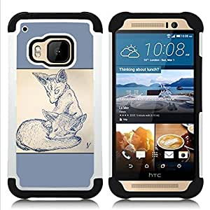 GIFT CHOICE / Defensor Cubierta de protección completa Flexible TPU Silicona + Duro PC Estuche protector Cáscara Funda Caso / Combo Case for HTC ONE M9 // 2 Foxes //