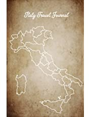Italy Travel Journal: Vintage Old Paper Design, Unlined 6x9 Blank Study Abroad Softcover Notebook & Italy I Was Here Map to Decorate