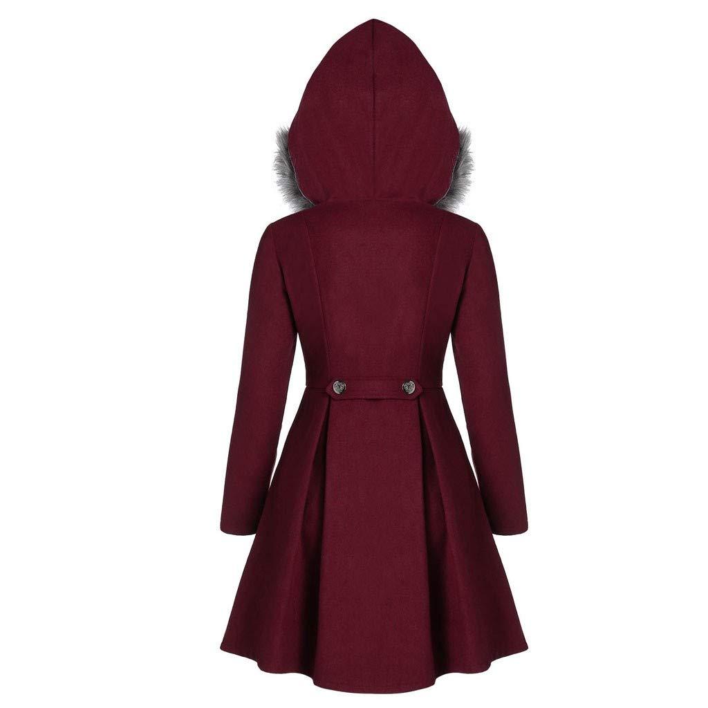 E-Scenery 2019 Womens Plush Cape Coat Fashion Plus Size Double Breasted Faux Fur Hooded Long Overcoat