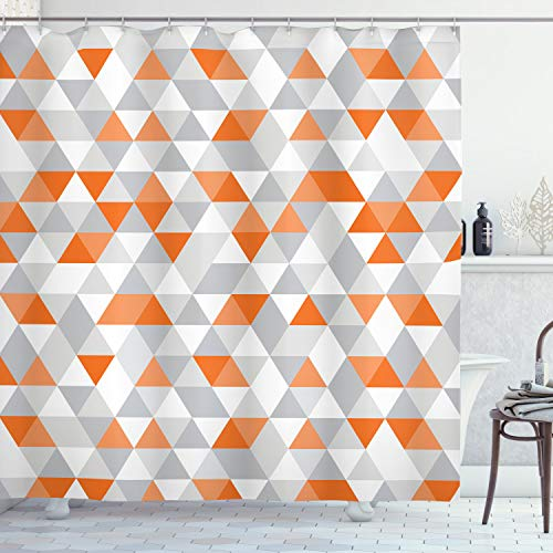 orange and grey shower curtain - 4