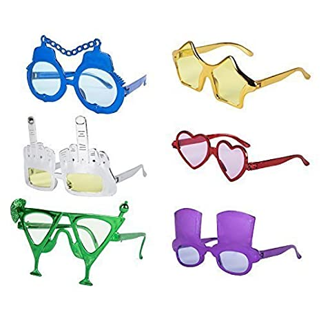 829b5aded731 Set of 6 Assorted Value Novelty Selfie Fancy Dress Glasses  Amazon.co.uk   Toys   Games