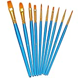 BOSOBO Paint Brush Set, 10pcs Round Pointed Tip