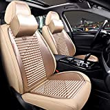 Sunluway 15 PCS Universal Leather Car Seat Cushion Cover Front and Rear Full Set Seat Pad Protector with Health Care Headrest for Year-Round Use (Airbag Compatible)