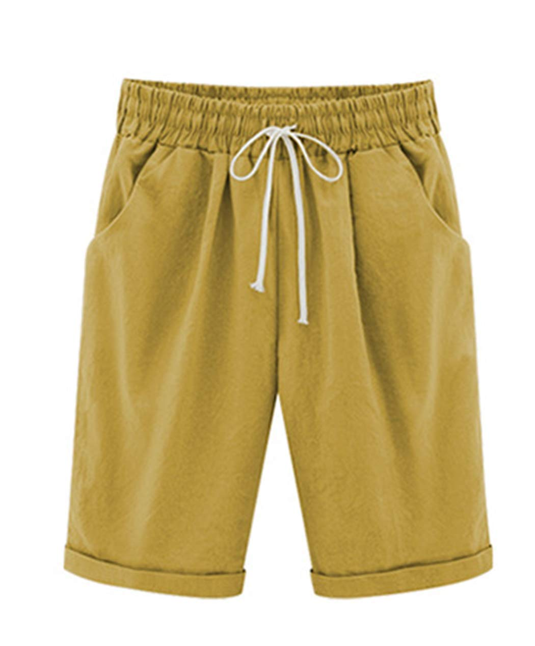 Vcansion Women's Drawstring Elastic Waist Shorts Plus Size Shorts Turmeric Asian 4XL/US 12-14 by Vcansion