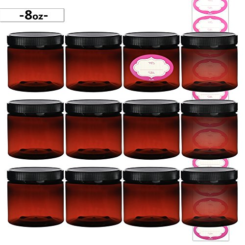 DilaBee 12-Pack 8 Ounce Amber Refillable Plastic Slime / Cosmetic Containers With 12 LABELS For Beauty Products Jars for Cream, Exfoliating Scrub, Face Masks, Gel, Putty, Lotion and Laboratory Samples ()