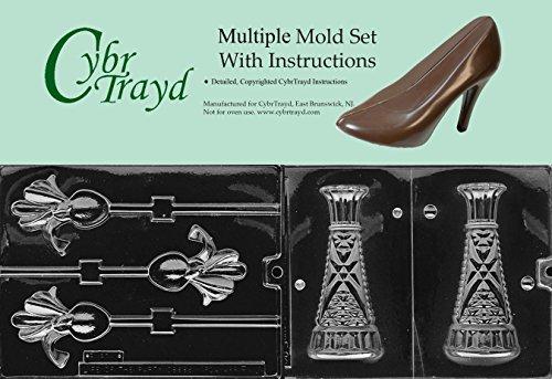 Cybrtrayd BUN-F026F043 2-Piece Iris and Vase Chocolate Molds (Iris Plastic Mold)