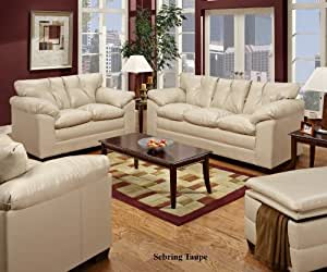 Simmons 6569 sebring taupe leather sofa - Simmons living room furniture sets ...
