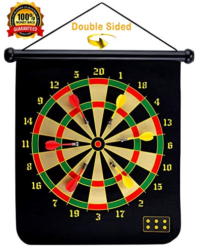 LifeHelper Safety Magnetic Dartboard Game Set - 15 Inch Dart Board with 6 Magnet Darts for Kids and Adults, Gift for Game Room, Office, Indoor, Outdoor,Man Cave and Home, Include 6pcs Dart Flights