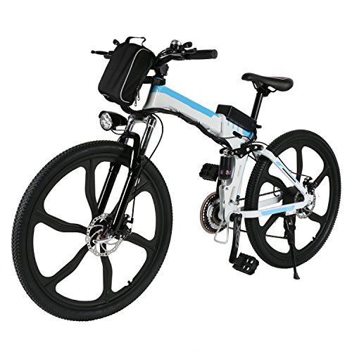 Pro Folding 250W 26' Speed Electric Power Mountain Bicycle with Large Lithium-Ion Battery (US STOCK) (White)