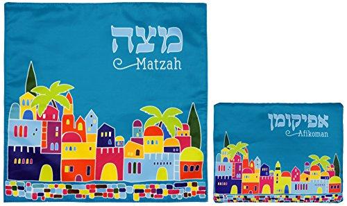 Passover Plate Matzah (Matzah Cover & Afikoman Bag Set For Passover - Satin Blue Matzo Set)