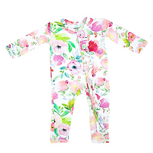 Price comparison product image Premium Knit One Piece Baby Romper - Ultra Soft & Breathable (Watercolor Floral, Newborn)