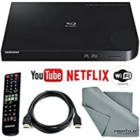 Samsung BD-J6300 Near-4K Upscaling Wi-Fi and 3D Blu-ray Disc Player with HDMI Cable + Remote + FiberTique Cleaning Cloth