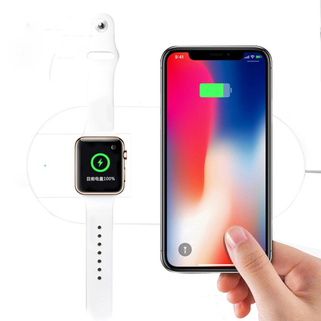 Icocol Wireless Charger Pad for iPhone X 8 iWatch Note 8 S9,7.5W 2 in 1 Fast Charging,Elegant White