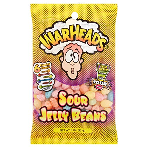 WarHeads (1) Bag Sour Jelly Beans Candy 6 Assorted Flavors - Orange, Watermelon, Lemon, Blue Raspberry, Cherry, Green Apple - 8 oz -