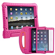 HDE iPad Air 2 Bumper Case for Kids Shockproof Hard Cover Handle Stand with Built in Screen Protector for Apple iPad Air 2 (Full Protection Hot Pink)
