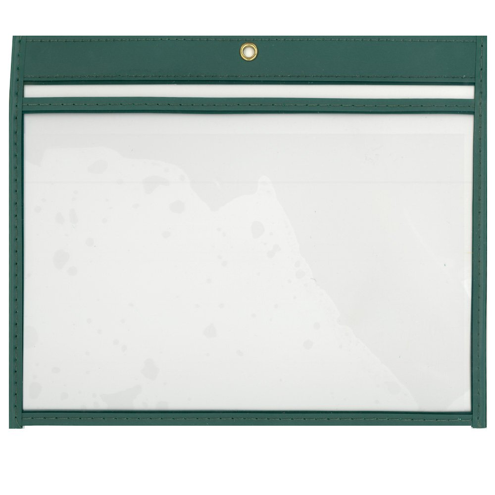 StoreSMART - 6'' x 9'' - Open Long - Green Rigid Vinyl Sewn Pocket - 5-Pack - T85206L-G-5