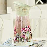 VANCORE American Style Shabby Chic Metal Flower Pitcher Vase for Home Decoration