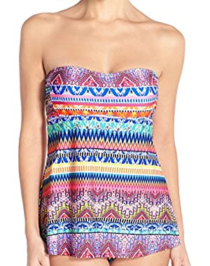 Jessica Simpson Babydoll Bandeau Bali Breeze Swimsuit Tankini Swimwear Two Piece Set Top & Bottom, S
