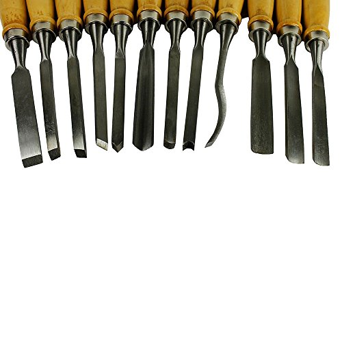 12 Piece Wood Carving Hand Chisel Tool Set Professional Woodworking Gouges Steel by Olivia Co. (Image #7)