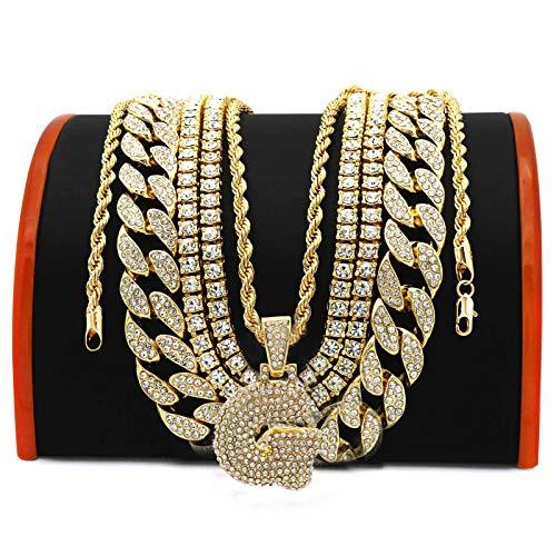 (L & L Nation 5 pcs Bundle Set 14k Gold Plated Hip Hop Fully Cz Chain Bubble Letter Pendant (G))
