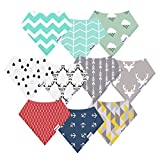 10-Pack Bandana Bibs Upsimples Baby Drool Bibs for Drooling and Teething, ...