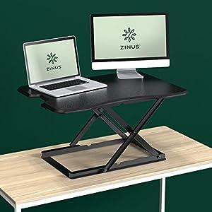 Zinus Smart Adjust Standing Desk/Adjustable Height Desktop Workstation/32in x 22in/Black