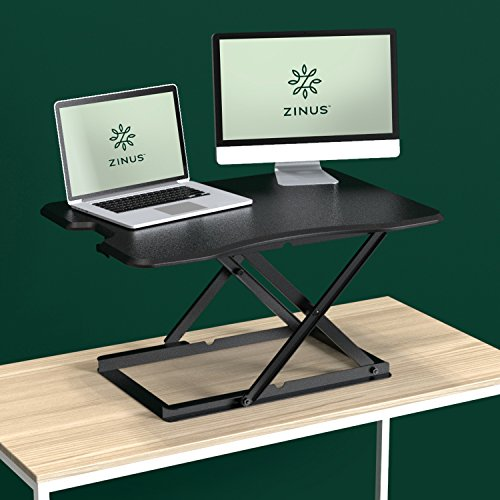 Zinus Smart Adjust Standing Desk/Adjustable Height Desktop Workstation / 32in x 22in / Black by Zinus