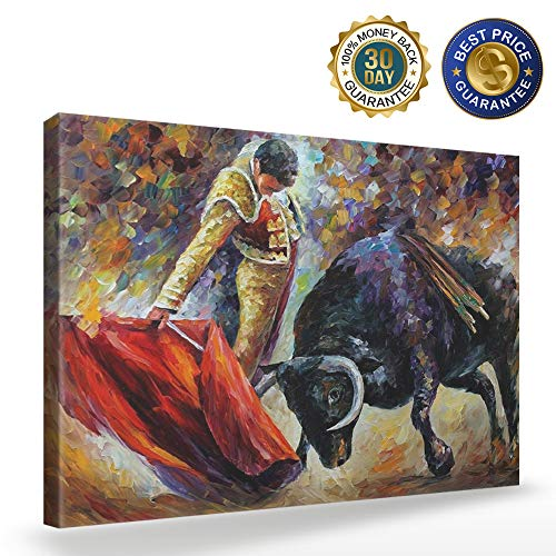 SIMIGREE 24x36 in Canvas Wall Art for Living Room Spanish Bullfight Matador with Red Cloth Hand-Painted Artwork Oil Painting Wood Inside Frame Ready Hang Home Decorations